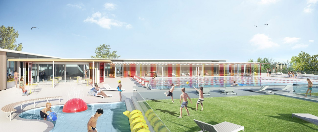 Bourgueil rouleau architectes piscine d 39 t luynes for Projet piscine