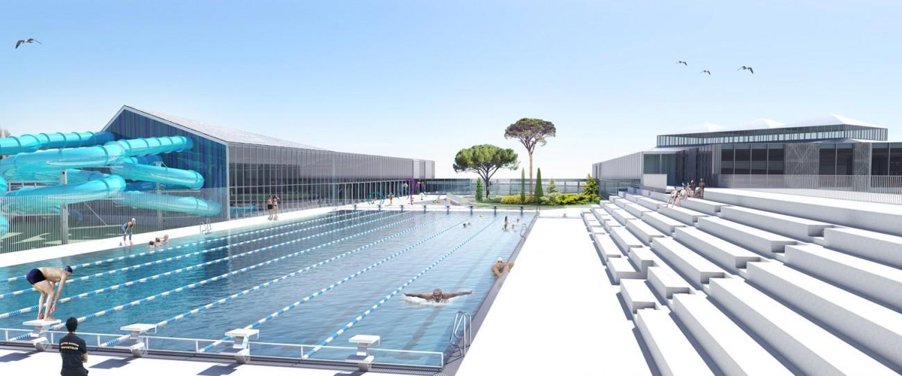 Bourgueil rouleau architectes complexe aquatique arago for Accessoire piscine la roche sur yon